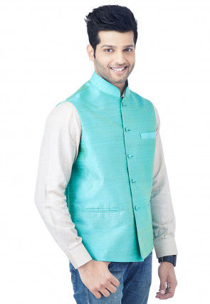 Solid Color Tussar Silk Shirt in Off White
