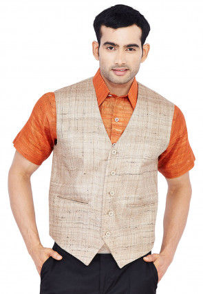Solid Color Tussar Silk Shirt in Rust