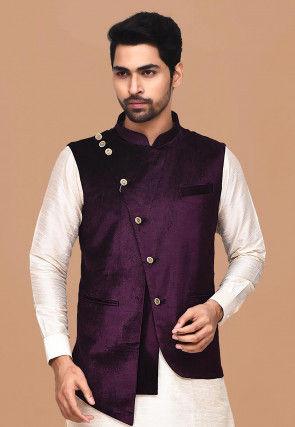 Solid Color Velvet Asymmetric Nehru Jacket in Violet