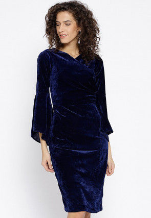 Solid Color Velvet Dress in Blue