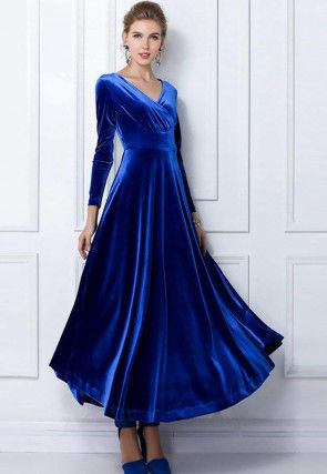 Solid Color Velvet Dress in Blue