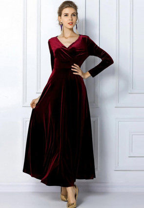 Solid Color Velvet Dress in Maroon