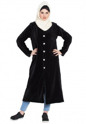 Solid Color Velvet Front Open Abaya in Black
