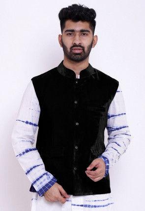 Solid Color Velvet Nehru Jacket in Black