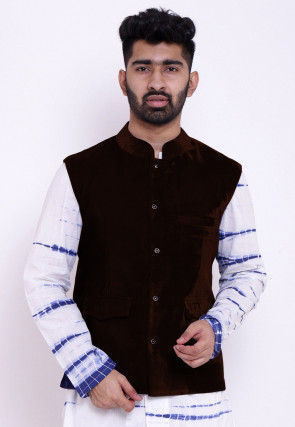 Solid Color Velvet Nehru Jacket in Dark Brown