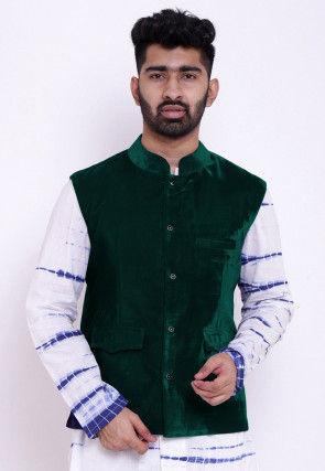 Solid Color Velvet Nehru Jacket in Dark Green