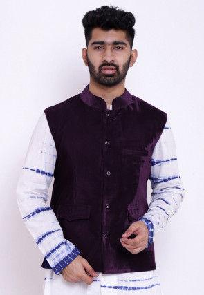 Solid Color Velvet Nehru Jacket in Dark Purple