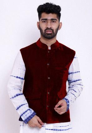 Solid Color Velvet Nehru Jacket in Maroon