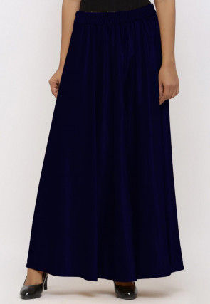 Solid Color Velvet Palazzo in Dark Blue