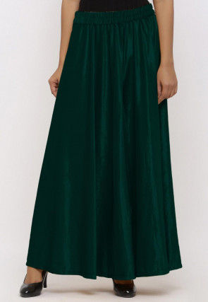 Solid Color Velvet Palazzo in Dark Teal Green