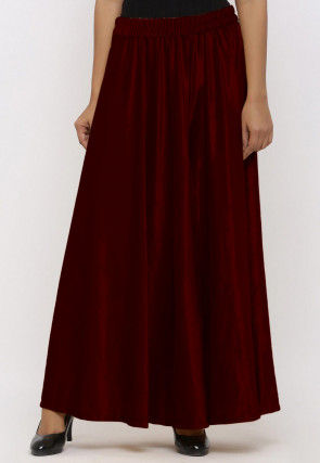 Solid Color Velvet Palazzo in Maroon