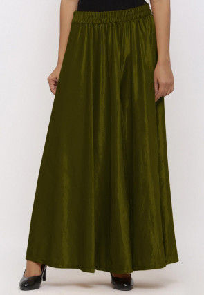 Solid Color Velvet Palazzo in Olive Green
