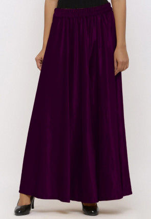 Solid Color Velvet Palazzo in Wine