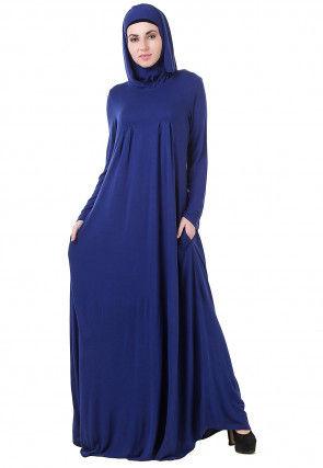 Solid Color Viscose Abaya in Navy Blue