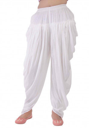 Solid Color Viscose Cotton Dhoti Patiala in White
