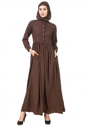 Solid Color Viscose Rayon Abaya in Dark Brown
