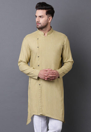 Solid Color Viscose Rayon Asymmetric Kurta in Olive Green