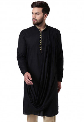 Solid Color Viscose Rayon Cowl Style Kurta in Black
