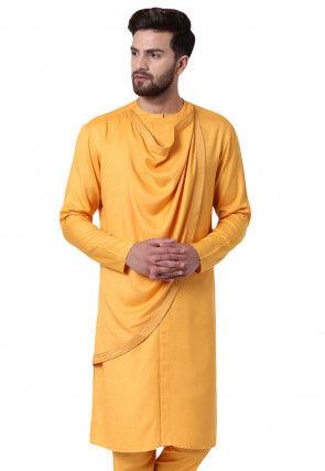 Solid Color Viscose Rayon Cowl Style Kurta in Light Orange