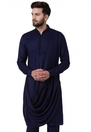 Solid Color Viscose Rayon Cowl Style Kurta in Navy Blue