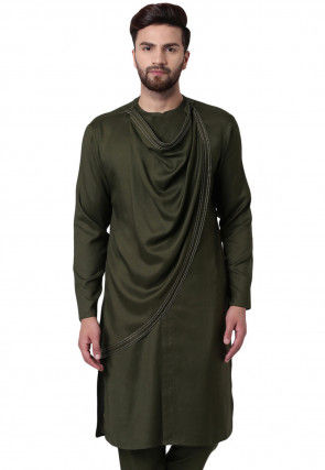 Solid Color Viscose Rayon Cowl Style Kurta in Olive Green
