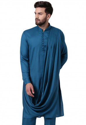 Solid Color Viscose Rayon Cowl Style Kurta in Teal Blue
