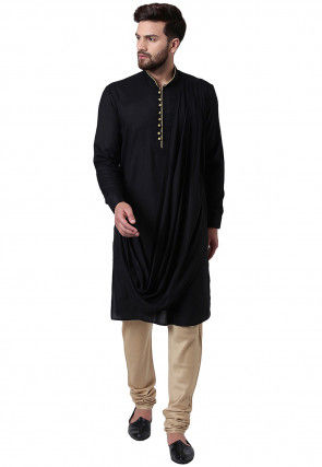 Solid Color Viscose Rayon Cowl Style Kurta Set in Black