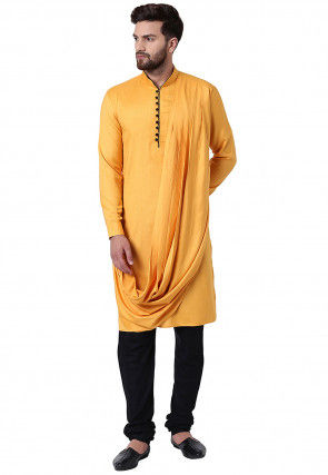 Solid Color Viscose Rayon Cowl Style Kurta Set in Light Orange