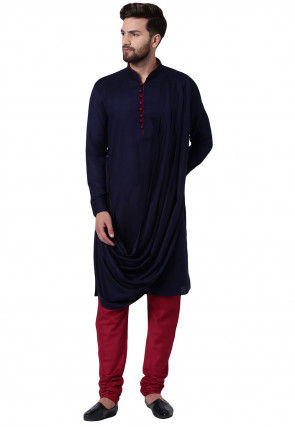 Solid Color Viscose Rayon Cowl Style Kurta Set in Navy Blue