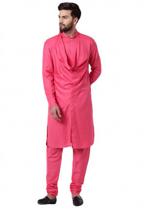Solid Color Viscose Rayon Cowl Style Kurta Set in Pink