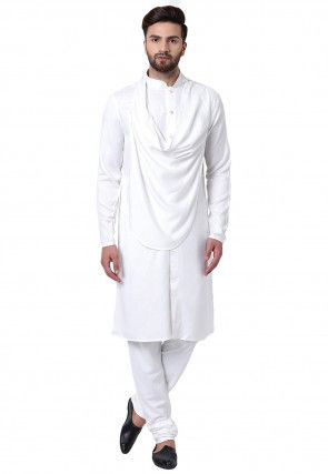 Solid Color Viscose Rayon Cowl Style Kurta Set in White