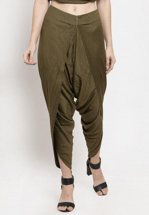 Solid Color Viscose Rayon Dhoti Pant in Olive Green