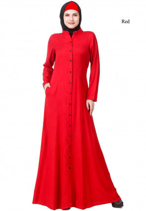 Solid Color Viscose Rayon Front Open Abaya in Red