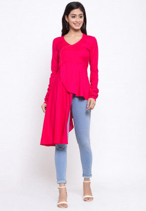 Solid Color Viscose Rayon High Low Top in Fuchsia