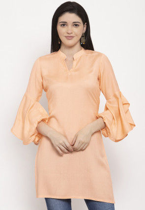 Solid Color Viscose Rayon Kurti in Light Peach