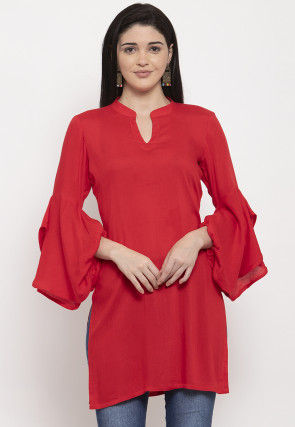 Solid Color Viscose Rayon Kurti in Red