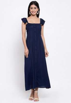 Solid Color Viscose Rayon Midi Dress in Navy Blue