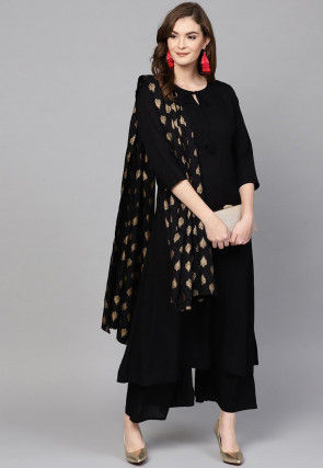 Solid Color Viscose Rayon Pakistani Suit in Black