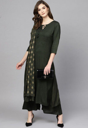 Solid Color Viscose Rayon Pakistani Suit in Dark Green