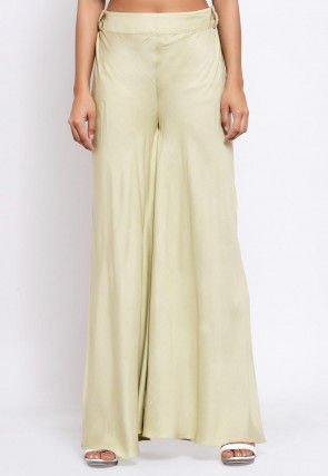 Solid Color Viscose Rayon Palazzo in Beige