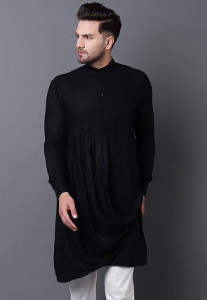 Solid Color Viscose Rayon Pleated Cowl Style Kurta in Black