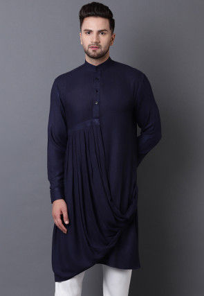 Solid Color Viscose Rayon Pleated Cowl Style Kurta in Blue