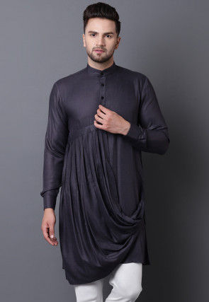 Solid Color Viscose Rayon Pleated Cowl Style Kurta in Grey