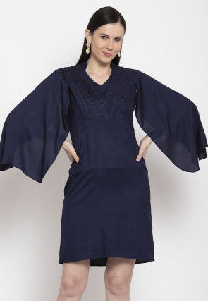 Solid Color Viscose Rayon Short Dress in Navy Blue