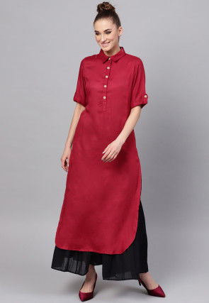 Solid Color Viscose Rayon Straight Kurta in Maroon