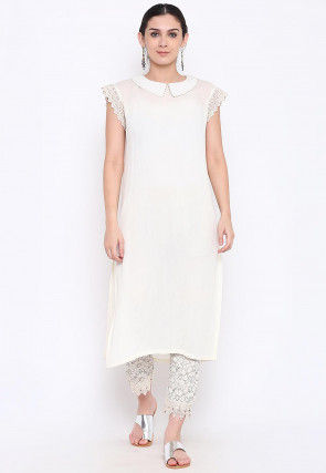 Solid Color Viscose Rayon Straight Kurta in Off White