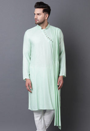 Solid Color Viscose Rayon Straight Kurta in Pastel Green
