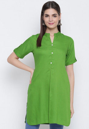 Solid Color Viscose Rayon Straight Kurti in Green
