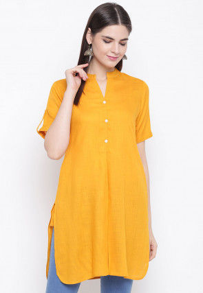 Solid Color Viscose Rayon Straight Kurti in Mustard