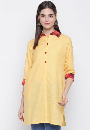 Solid Color Viscose Rayon Straight Kurti in Yellow
